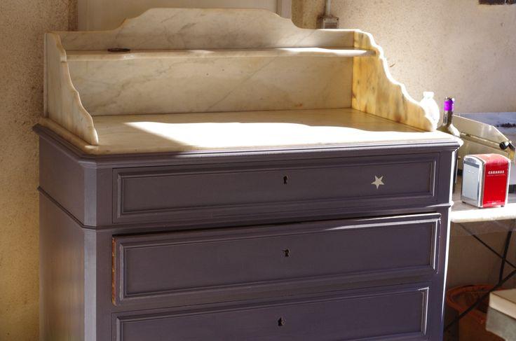 Commode couleur grise 4 tiroirs avec marbre : Meubles et rangements par lune-et-patine