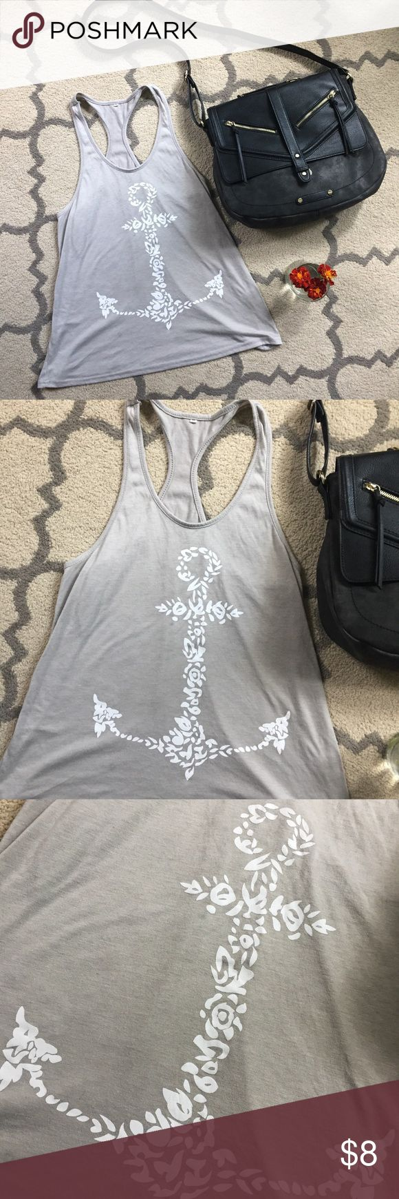 Grey & white Anchor tank top racerback size medium Gray racerback style tank white white anchor pattern on front. Size medium. Nautical, boating, lake life 👌🏽 Tops Tank Tops