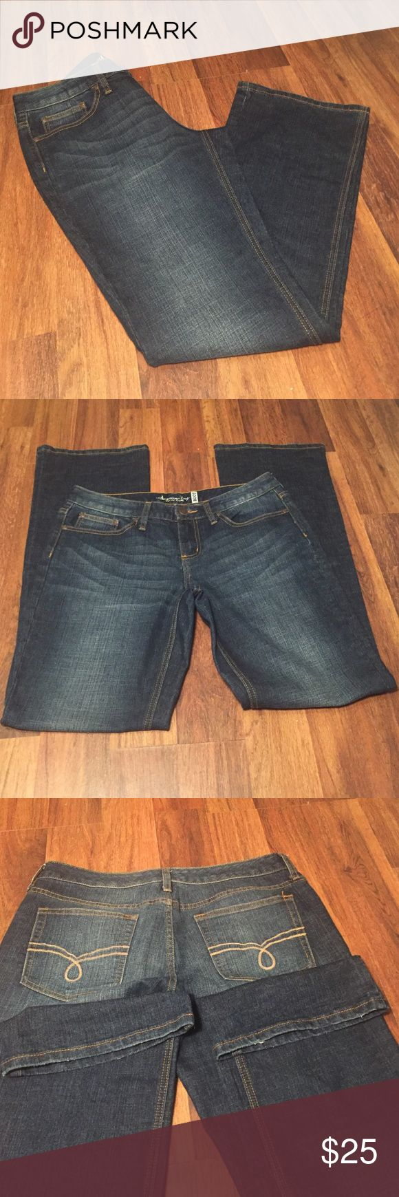"American Rag Bootcut Jeans size 11 Long American rag Jeans size 11 long.  Jeans are bootcut.  Measurements: waist-17"" laid flat, inseam-34"", waist to crotch- 9"".  Jeans are in EUC, slight wear on bottom of hem. American Rag Jeans Boot Cut"