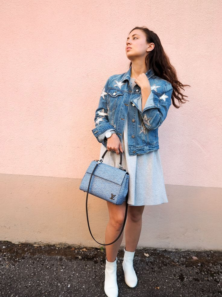 9086aafb Dallas fashion blogger; Star print denim jacket, Zara grey sweater dress,  white booties, Louis Vuitton Cluny BB