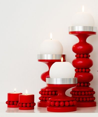 Technically, the candles aren't red but the candle holders are so it counts!