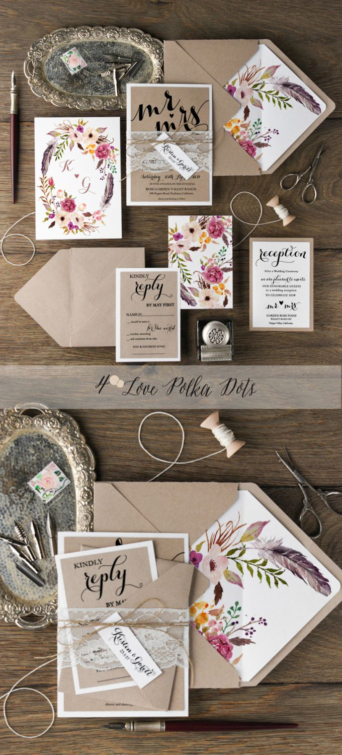 Boho Floral Eco Wedding Invitations with real lace and twine #boho #bohemian #eco #weddingideas #weddings #floral #flowers #calligraphy #neutral #natural #ecofriendly