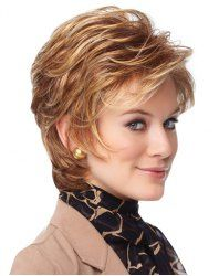 Sophisticated Short Capless Blonde Mixed Brown Synthetic Shaggy Wave Inclined Bang Women's Wig