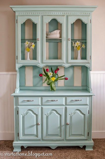 Painted Furniture : Blue Hutch - Cabinet with Stripes Painted Inside the Top from Start at Home
