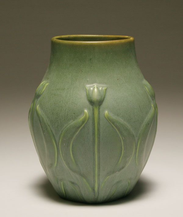 "Hampshire Pottery bulbous matte glaze vase; embossed tulip design on classic Arts and Crafts form. 8 3/4""h. Good."