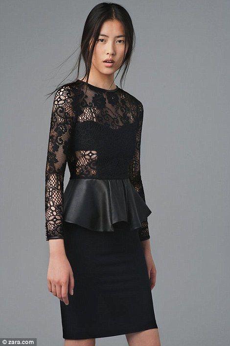 Combining the popular lace and peplum trends: Liu Wen, Black Lace, Peplum Frill, August 2012, Zara Studios, Studios Dresses, Lace Dresses, Peplum Dresses, Leather Peplum