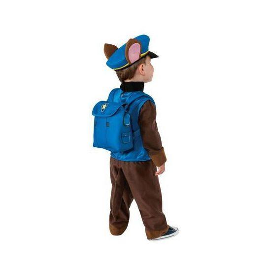 Paw Patrol kostuum Chase voor kids. Kinder kostuum van de bekende politiehond Chase van Paw Patrol. Dit pak bestaat uit een jumpsuit, pet en rugtas.
