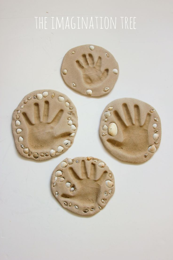 Sand clay hand print keepsake craft