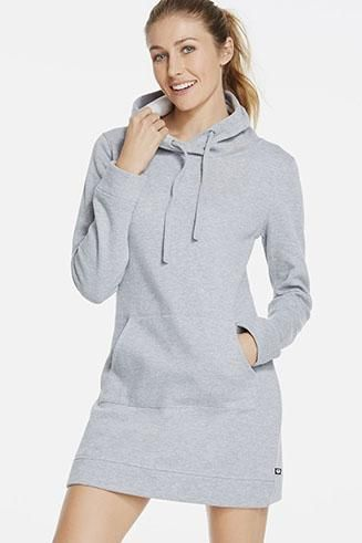 A dress that you can live in? You better believe it! As much as we love to dress up, it's hard to give up comfort. Slip on this sweatshirt dress, crafted in our cozy KnitFit fabric that feels like a dream once you put it on. | Yukon Dress - Fabletics