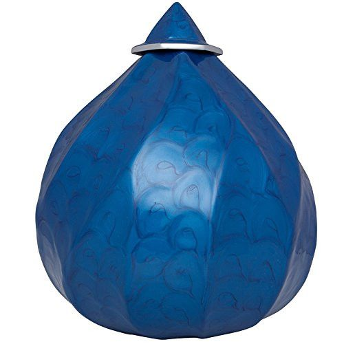 Funeral Urn by Liliane - Cremation Urn for Human Ashes - Hand Made in Aluminum - Fits the Cremated Remains of Adults - Display Burial Urn at Home or in Niche at Columbarium - Royal Peak Blue Model