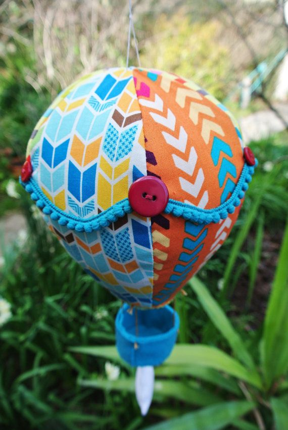 Handmade Large Hot Air Balloon Mobile. Baby by EmsBrightButtons