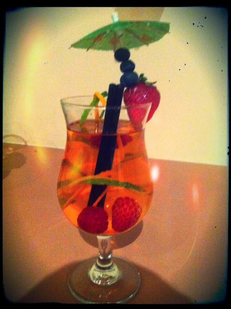 Orange and vodka based drink (with awesome garnish)