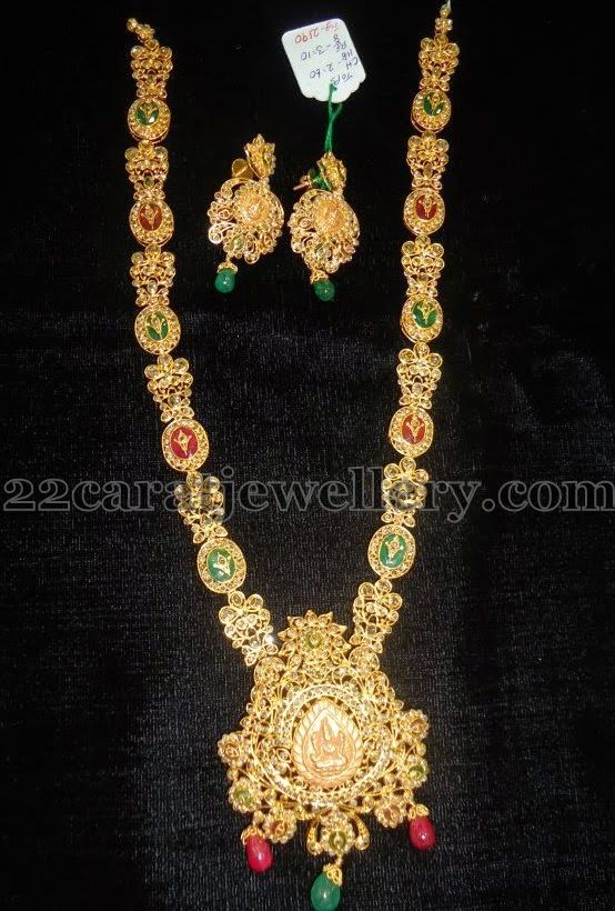 Jewellery Designs: Uncut Polki Medium Size Laxmi Set