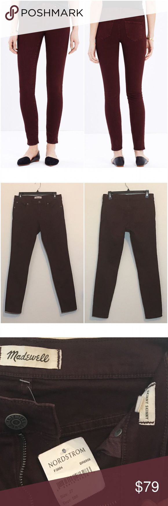 """Madewell Garnet dyed skinny skinny jeans Brand new with tags! Chocolate raisin color which is a nice burgundy.PRODUCT DETAILS Lean and sexy with a 9"""" rise (right in '70s rock-muse territory), this one's legs-for-days look and supersleek effect come from using some of the best denim in the world.   Premium 98% cotton/2% elastane denim from the Orta mill. Garment-dyed for rich, dimensional color. Matte silver hardware, tonal stitching. Sit above hip, fitted through hip and thigh, with a slim…"""