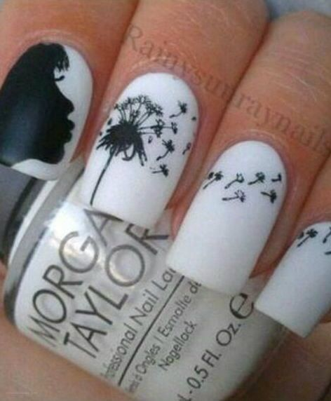 nail art - make a wish! dandelion! Wouldn't this be AMAZING as an animation.