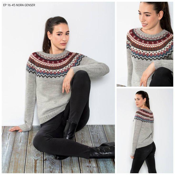NORA-genseren er strikket i TrysilGarn PERU alpakkablend i fargene: Lys grå 602, Mørk grå 604, Hvit 601, Blå 608, Mørk rust 610 og Rød 607.