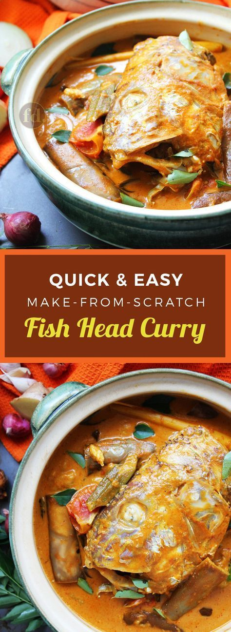 This hearty, delicious fish head (or fish fillet) curry is so good, you'll be left wanting more and more! Here's an easy, make-from-scratch recipe that makes a delicious one-pot meal with fresh vegetables like eggplant, okra and tomatoes.