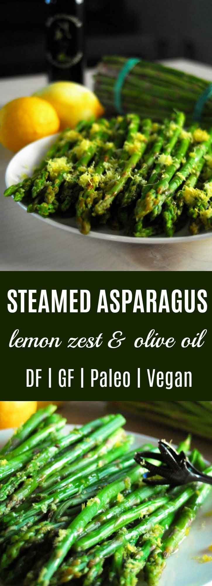 Steamed Asparagus with Lemon Zest & Olive Oil {Easy} | This Steamed Asparagus recipe is easy to prepare and full of flavor. Lemon zest & olive oil finish this quick nutrient dense side dish. | thenourishedfamily.com