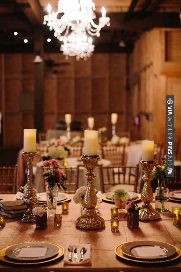 gold reception table decor | VIA #WEDDINGPINS.NET