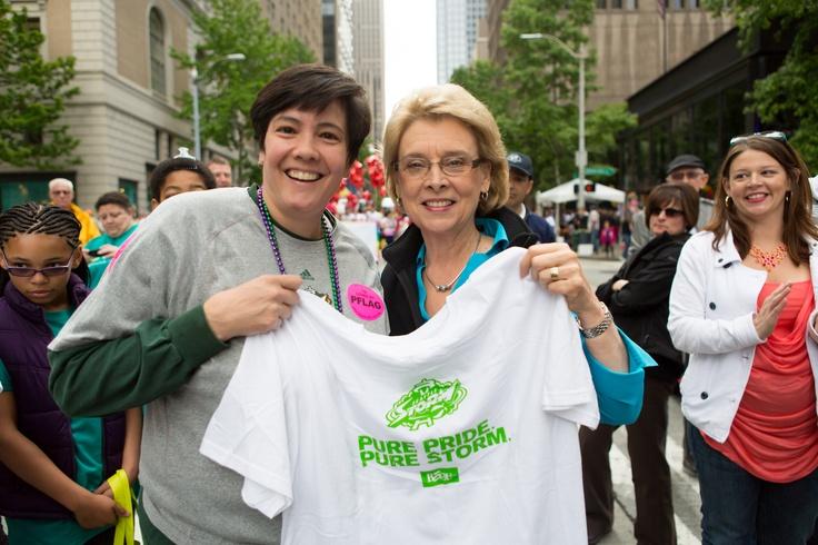 Storm CEO Karen Bryant & Governor Gregoire at the Pride Parade