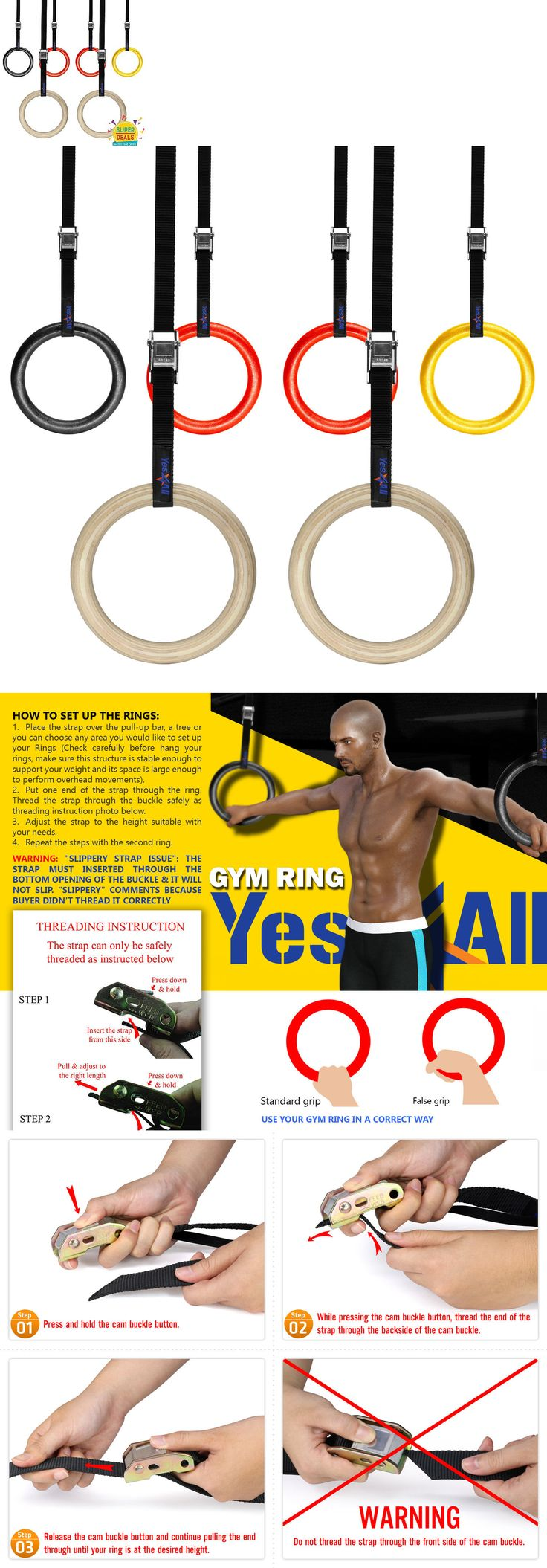 Other Strength Training 28067: Yes4all Portable Olympic Gym Rings Gymnastics Fitness Strength Training BUY IT NOW ONLY: $34.49