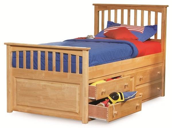 Natural Maple Wood Mission Twin Captains Bed With Under Storage