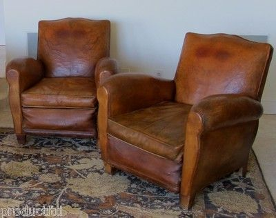 Charming Set Original 1930 40s French Art Deco Moustache Brown Leather Club Chairs |  EBay | Antiques And Collectables | Pinterest | Leather Club Chairs, French  Art ...