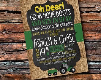 Any Color BOY TRACTOR Baby SHOWER BIrthday Oh Deer Country Sprinkle Sip N See Farm Animal 1st Burlap Green Yellow Invitation