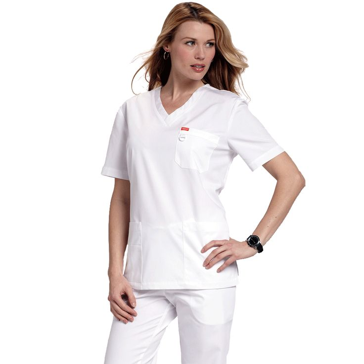 The Orange Standard Unisex Balboa Top in white features multi compartment pockets to make sure you always have space for your bits and pieces as well as a D-ring on the chest for your ID badge. £16.99 #medicalscrubs #nursescrubs #dentistscrubs #nurses #dentists #whitescrubs #nurseuniform