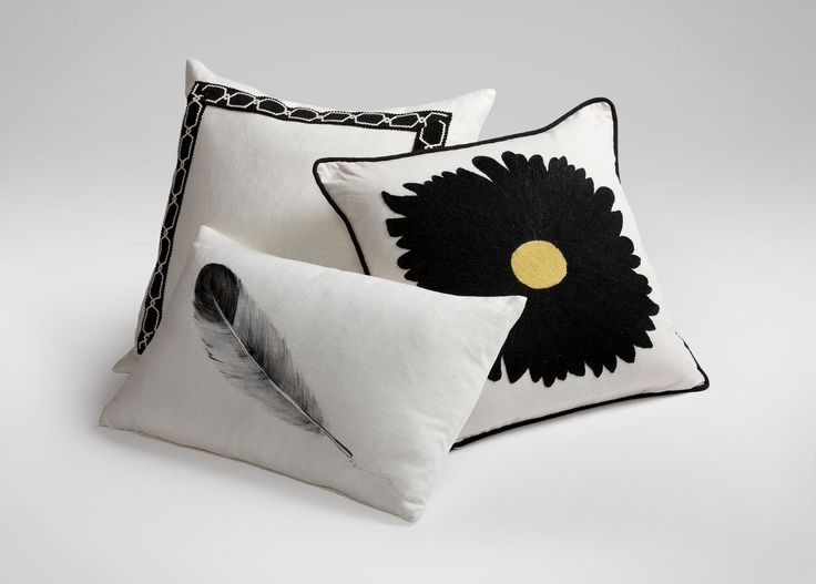 Hand-Painted Feather Pillow ,  , large_gray