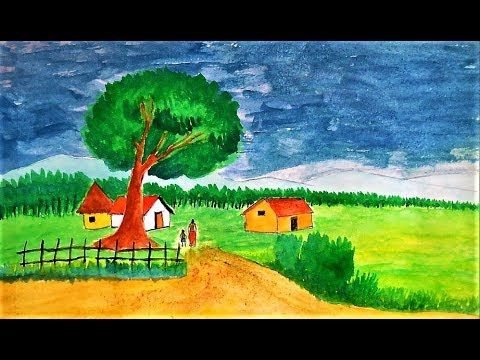 How To Draw A Village Scenery Poster Colors Drawing Cometube Colorful Drawings Drawings Art