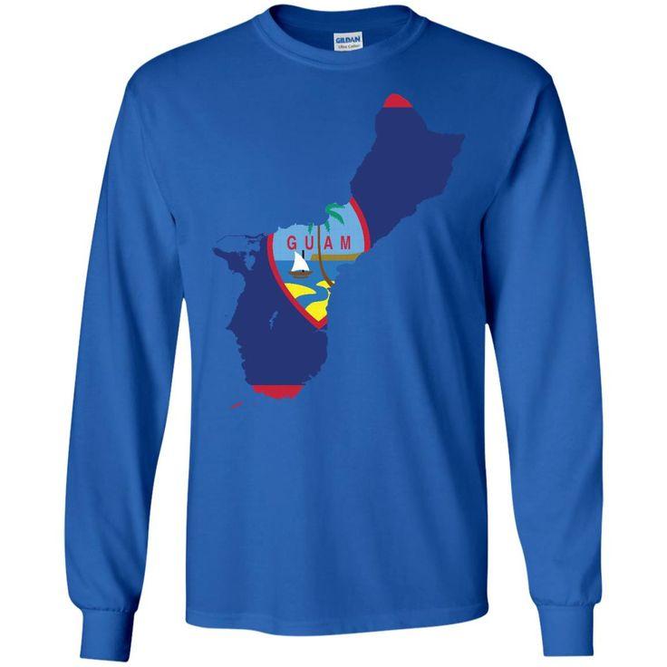 Guam flag G240 Gildan LS Ultra Cotton T-Shirt