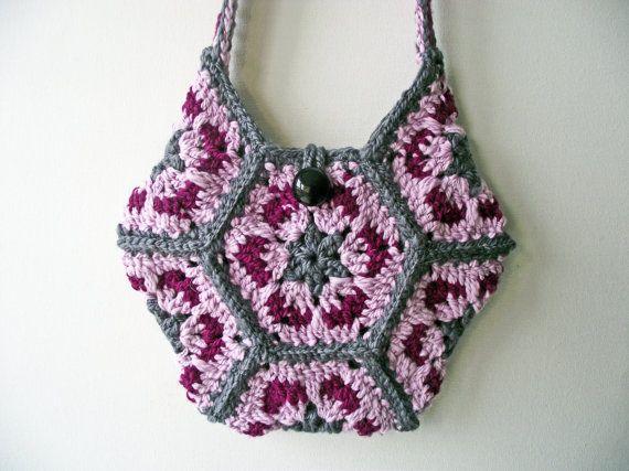 Pink & Grey Crochet Purse, Lined Wool Bag, Artisan Boho Bag, Handspun Pink Grey Tote, Crochet Shoulder Bag, Crossbody, Granny Hexagon Bag