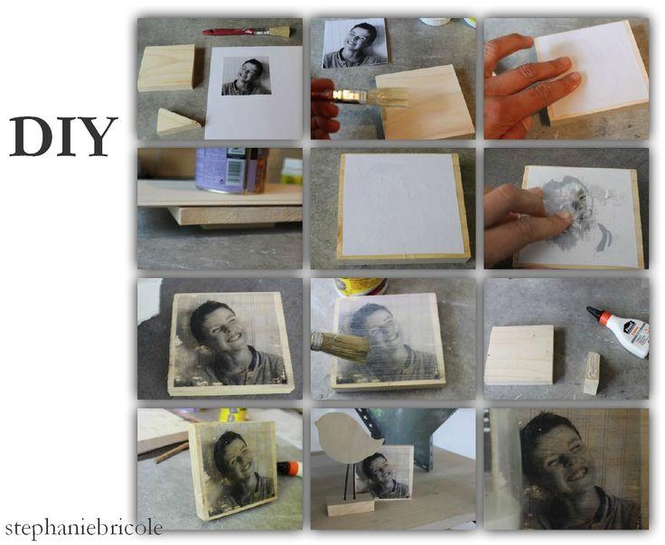 diy transfert de photos sur bois avec imprimante (laser ou ink jet) et vernis colle.