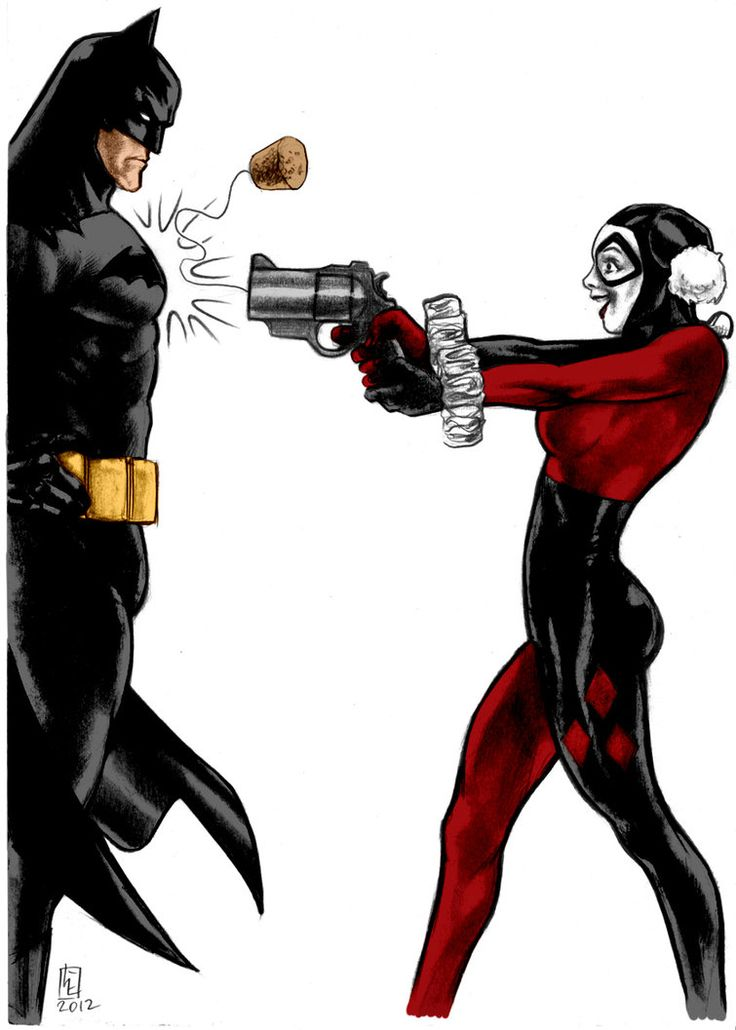 Batman, Harley, and her Pop-gun. this looks like me and Z when i'm hyper and he's.... being himself =D