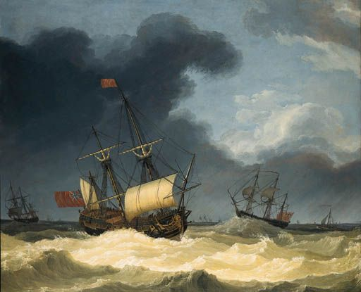 English frigates in rough seas