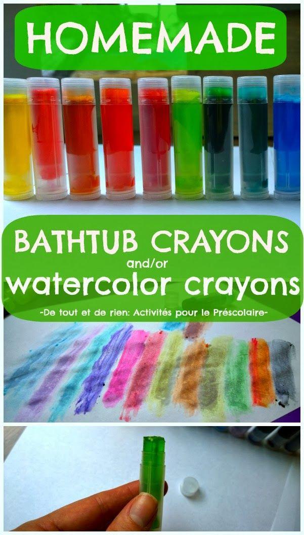 Homemade retractable bathtub crayons and/or watercolor crayons from De tout et de rien
