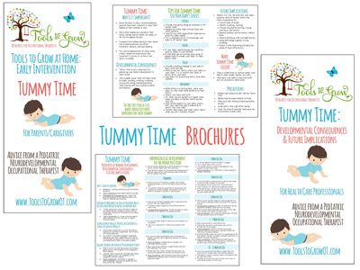 Tummy time handout brochure. Tummy time for health care professionals. Tummy time for parents/caregivers. www.toolstogrowot.com