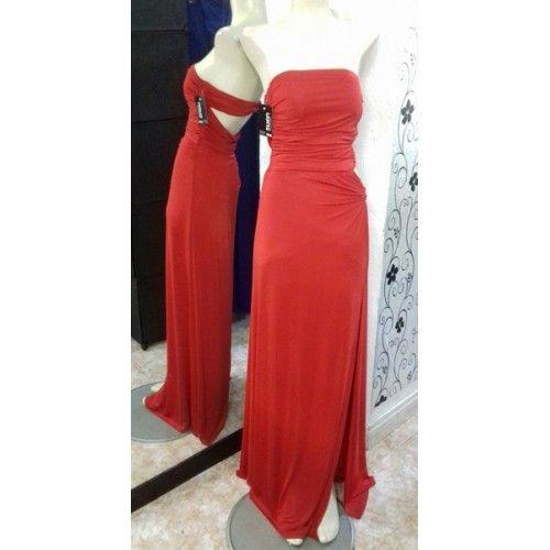 Vestido Largo Palabra Honor Rojo | Suen-Vestidos de fiesta