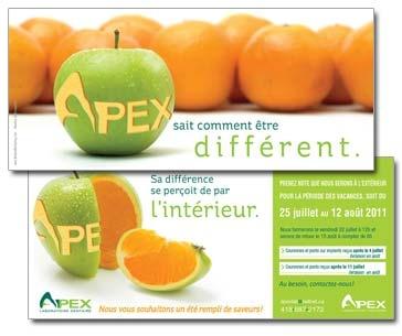 Client : Apex laboratoire dentaire - Affichage, conception-rédaction, campagne publicitaire imprimée, design graphique, image de marque, intégration d'image, personnalisation, publipostage