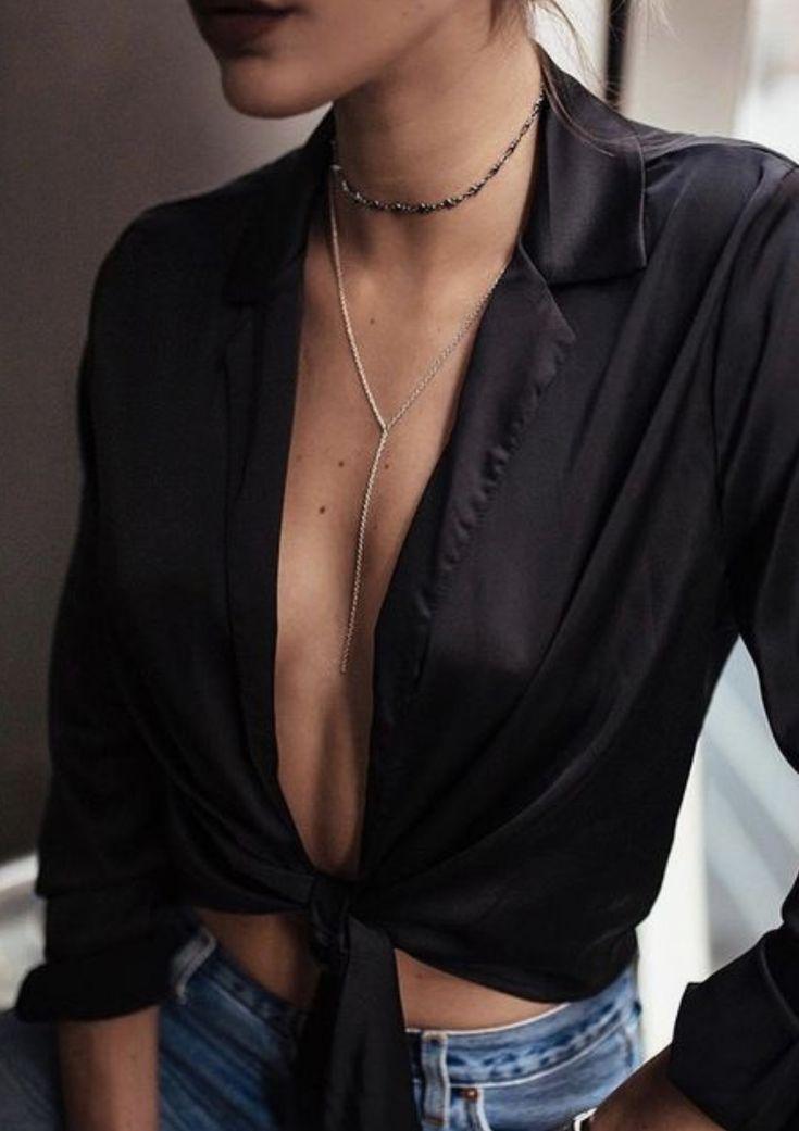 satin crop tops + lariat necklaces