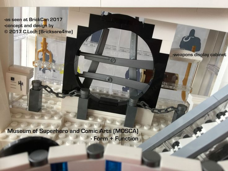 An original MOC built by AFOL © 2017 C.Loch (Bricksare4me) -view of weapons display cabinet from interior. Blogged on https://www.archbrick.com/single-post/2017/05/05/MOSCA and interviewed at Lisaloveslego.com. #legobricks #moc #afol #modernarchitecture #photography #legobuildings #moderndesign #legomoc #museum #bricksare4me #superhero #comics #arts #architecturelego