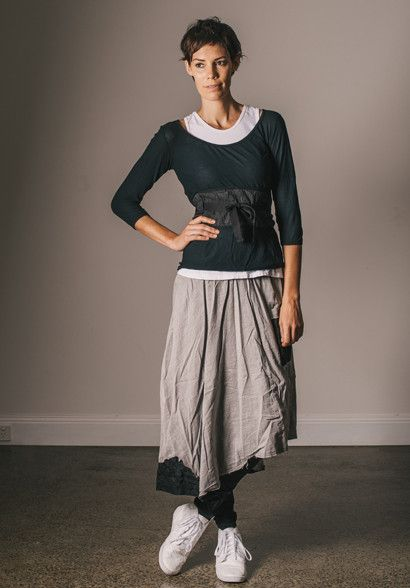 Geranium skirt silver cotton and layers of super fine cotton tops.  100% made in Australia by Bestowed. Ethical production from a sustainable label.