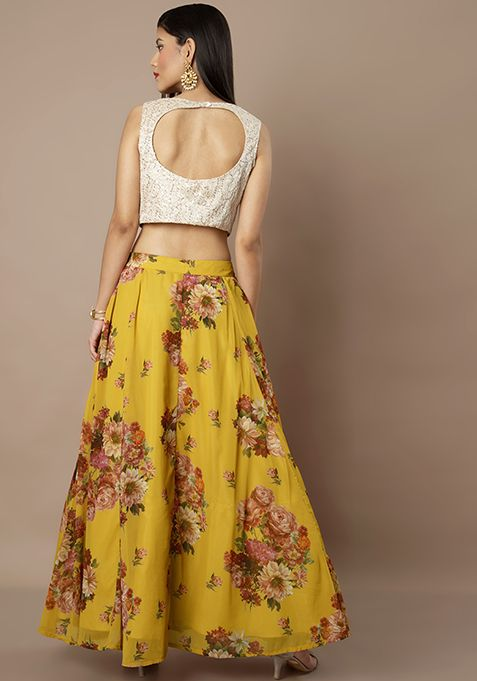 6f1eb7af26460 Mustard Floral Georgette Maxi Skirt With Can Can