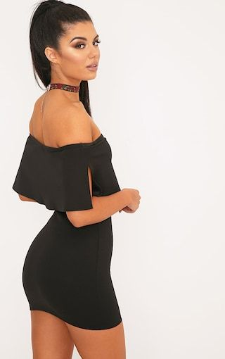 Black Bardot Frill Bodycon Dress Bardot beaty! We are dreaming over the cold shoulder look and th...