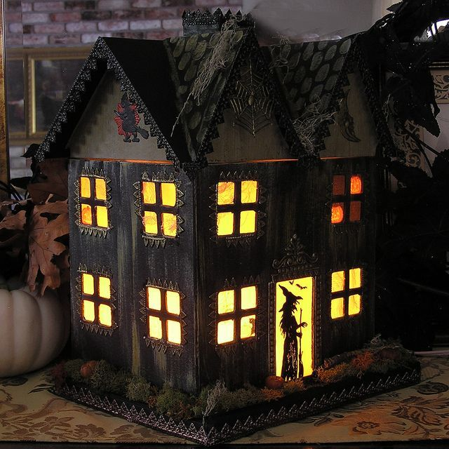 light up haunted house paper mache halloween folk by ivascreations - Pictures Of Houses Decorated For Halloween