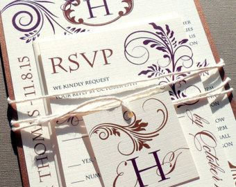 Vineyard Modern Swirls Wedding Invitation Set - Fall Leaves, Fall Wedding, Autumn Bronze, Wedding Invites - Sample only