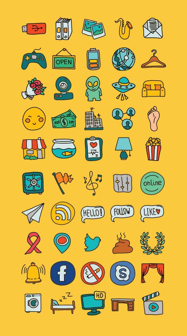 50 iconos vectoriales gratuitos dibujados a mano. http://graffica.info/iconos-vectoriales-gratuitos-dibujados/