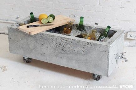 10 Awesome DIYs Using Cement.   Cement Planter/Tub  A conversation piece it is. From a planter to a party ice bucket.  Visit HandMade Modern for the how-to!