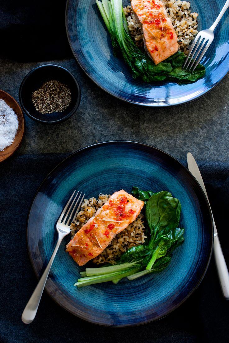 Glazed Salmon and Greens  http://www.regalsalmon.co.nz/recipes/glazed-salmon-and-greens